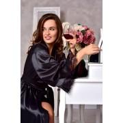 длинный женский халат атласный черный