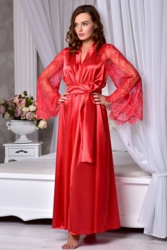 Длинный халат с длинными кружевными рукавами Красный