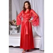 Длинный халат с кружевными рукавами Красный 1291