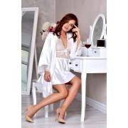 Комплект атласный халат и пеньюар для Невесты белый 1200
