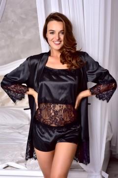 Атласный комплект пижама с халатом Черный