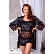 Атласный комплект пижама с халатом Черный 1293