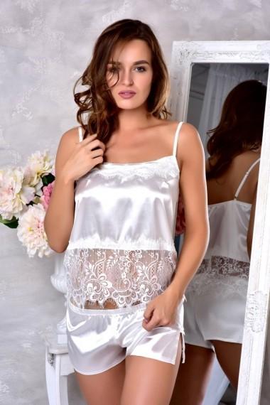 белая атласная пижама шорты с майкой купить