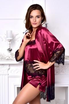 Домашняя одежда атласный халат с пижамой Бордовый 1298