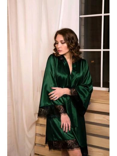 Женский халат атласный с кружевом шантильи Темный Изумруд