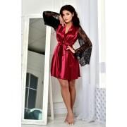 Атласный халат бордо с кружевным рукавом 1310