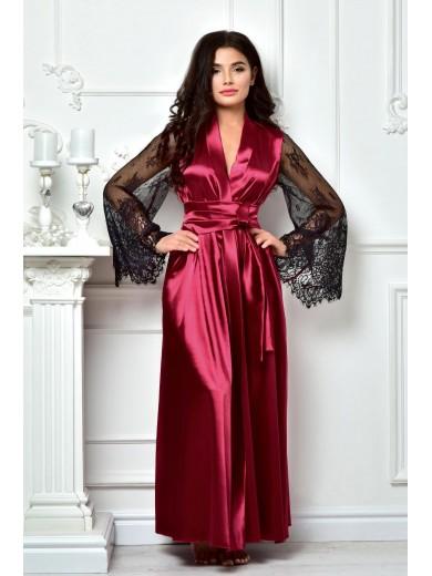 Довгий  халат колір бордо 1311