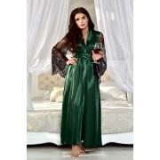 Женский халат длинный атласный с кружевными рукавами темный Изумруд 1300