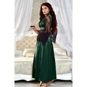 Женский халат длинный атласный с кружевными рукавами темный Изумруд