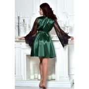 Короткий женский халат атласный с кружевным рукавом темный Изумруд