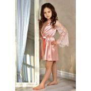 Детский атласный халат персик  1314