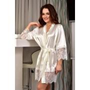 Короткий  халат для невесты Молочный (Айвори) 1317