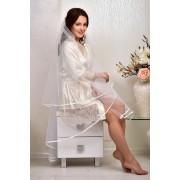 Короткий  халат для нареченої Молочний (Айворі) 1317