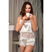 Комплект женского белья топ с шортиками Жемчужный (Айвори) 0999