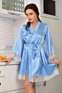 Жіночий халат з атласу на запах Ніжно Волошковий 0923