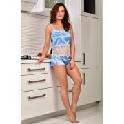 Легкая пижама из атласа с кружевом шантильи топ и шорты