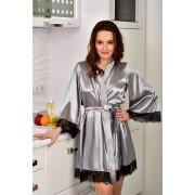 Атласный халат с кружевом шантильи Серебро SecretLove 1064