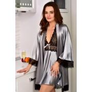 Домашній одяг з атласу комплект халат з пеньюаром Сірий (Срібло) 1125