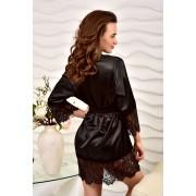 Красивый домашний халат атласный черный 1244