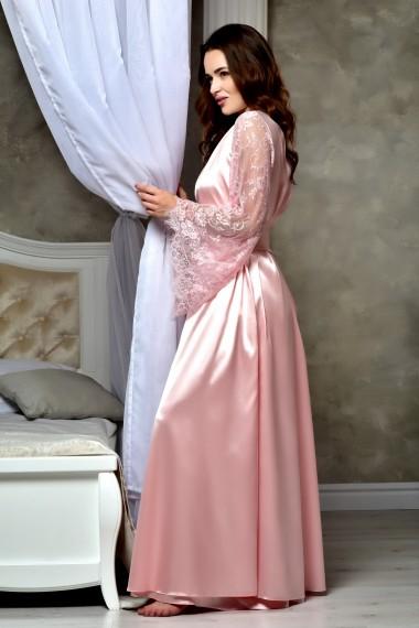 Атласный длинный халат персик 1312