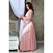 Атласный длинный халат Королевский Розовый 1313