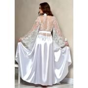 Длинный халат с кружевной спинкой в белом цвете 1331