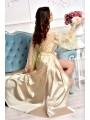 Длинный халат с кружевной спинкой карамель 1332