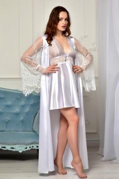 Белый комплект атласный халат с пеньюаром  1333