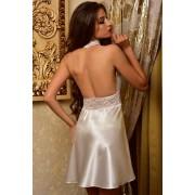 Комплект атласний халат з пеньюаром для нареченої Молочний 1104