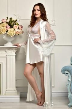 Атласный комплект для фотосессии Утро невесты пеньюар с длинным халатом