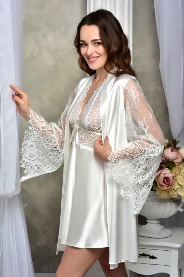 Свадебный комплект для Невесты халат с пеньюаром Айвори
