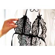 женское эротическое белье кружевное боди с разрезами