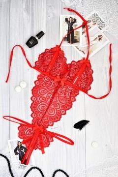 Красный боди с эротичными разрезами 1180