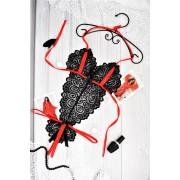 Пикантный боди с разрезами Черно-красный 1178