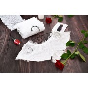 Сексуальные трусики-шортики атлас с кружевом Белые 1340