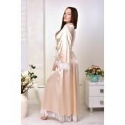 длинный атласный халат для невесты бежевый
