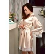 свадебный халат для невесты бежевый