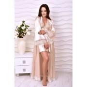 Восхитительный комплект атласный халат в пол с коротким пеньюаром Пудра 1349