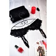 Красивый черный пояс для чулок под платье 0974