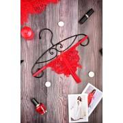 Кружевной комплект пояс для чулок и стринги Красный