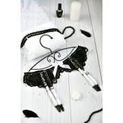 Оригинальный пояс для чулок с трусиками на шнуровке черный N0746