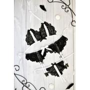 Комплект эротического белья стринги и лифчик с разрезами бежевый 0867