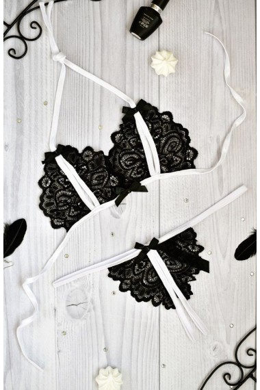 Эротичное белье комплект с разрезами Лорин Черно-белый
