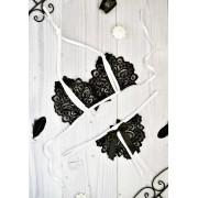 Эротичное белье комплект с разрезами Лорин Черно-белый 1182