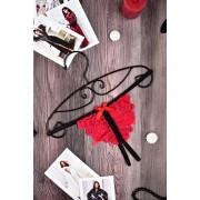 Пояс для чулок с пикантными стрингами красно-черный