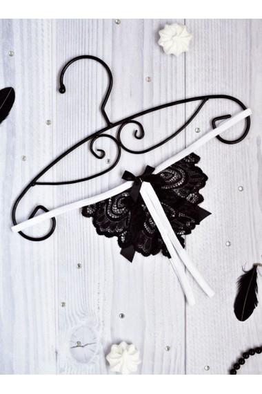 Сексуальные стринги с доступом для интима черно-белые