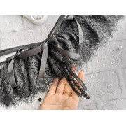 Эротические кружевные трусики с разрезом и бусинами Черные 1380