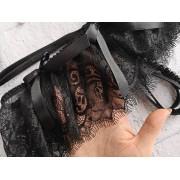 Эротические кружевные трусики с разрезом и бусинами Черные
