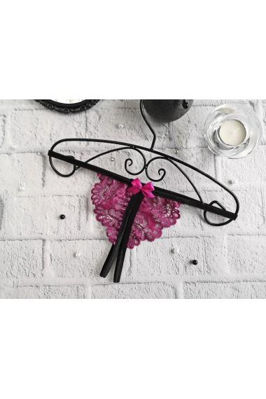 Стринги с разрезом для интима Пурпурные