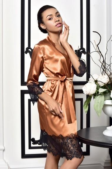 Женский халат атласный с кружевом...